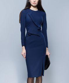 Another great find on #zulily! Navy Blue Flared Wool-Blend Dress #zulilyfinds