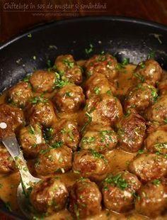 chiftelute nemtesti in sos de mustar si smantana Pizza Bites, Romanian Food, Cooking Recipes, Healthy Recipes, Hungarian Recipes, No Cook Meals, Soul Food, I Foods, Food To Make
