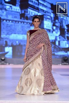 A grand embellished choli paired with a velvet blouse and an off-white #lehenga
