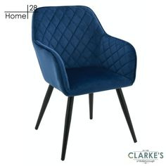 Vienna Navy dining / accent chair. Available in blush pink and navy, with diamond tufted fabric and tapered black legs, the neat Vienna chair makes a statement without taking up space. Navy Furniture, Velvet Color, Vienna, Blush Pink, Accent Chairs, Legs, Steel, Dining, Space