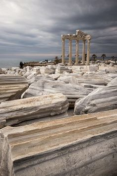 athena temple, antalya province, turkey travel destinations in eurasia + ruins Architecture Classique, Art Et Architecture, Ancient Architecture, Places To Travel, Places To See, Travel Destinations, Side Turkey, Istanbul, Temple Ruins