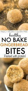Healthy No Bake GINGERBREAD Bites- Quick, easy and delicious, these NO BAKE bites are soft, chewy and made with NO sugar, grains or butter- Kid friendly and sugar free! {vegan, gluten free, paleo recipe}- thebigmansworld.com