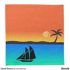 Island Sunset Cloth Napkin #Sunset #Island #PalmTree #Ocean #Sailboat #Home #Decor #Napkin
