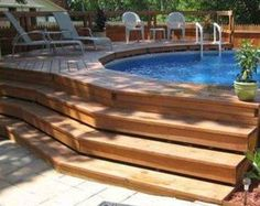 above ground pool deck designs with steps : Swimming Pool Deck Designs. design a pool deck,pool deck design ideas,swimming pool deck,swimming pool deck ideas,wooden pool decks Above Ground Pool Landscaping, Backyard Pool Landscaping, Small Backyard Pools, Backyard Ideas, Pool And Deck Ideas, Landscaping Ideas, Above Ground Swimming Pools, Swimming Pools Backyard, In Ground Pools