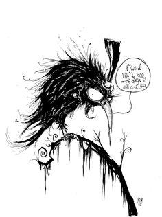 Crow by Skottie Young Skottie Young, Dark Drawings, Cartoon Drawings, Comic Artist, Artist Art, Tim Burton, Jason Drawing, Crows Drawing, Pen Illustration