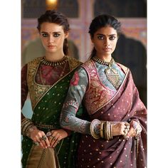 Ladies in earth-toned Varanasi organza sarees, block printed 'kanthi' blouses and 'tilla' embroidered miniature gilets. All jewellery from the Sabyasachi archives. Sari Blouse Designs, Fancy Blouse Designs, Indian Attire, Indian Wear, Indian Style, Indian Dresses, Indian Outfits, Estilo India, Stylish Blouse Design