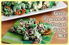 Green Popcorn & Pretzel Party Mix. A festive, sweet, salty recipe.