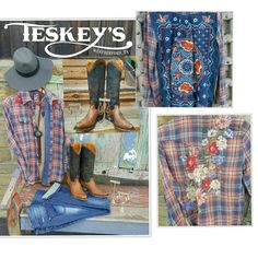 Outfit of the day! Johnny Was!!!  Two new shirts! Pictured: pearl snaps, floral back: $199.99.  Top right:$219.99  Pair with  your favorite jeans, sassy earrings, a big concho necklace and a pair of Old Gringos!  -Old Gringo: $539.99 #Teskeys#oldgringo #cowgirlfashion
