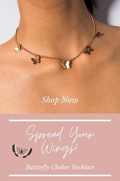 Diy Choker, Chocker Necklace, Chokers, Men Necklace, Teen Jewelry, Cute Jewelry, Jewelry Accessories, Teen Accessories, Butterfly Jewelry