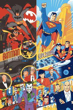 The New Batman Adventures & Superman: The Animated Series Screen Prints by Scott Derby x Bottleneck Gallery Mundo Superman, Batman Y Superman, Batman Robin, Dc Comics Superheroes, Dc Comics Art, Comic Character, Character Drawing, Comic Books Art, Comic Art