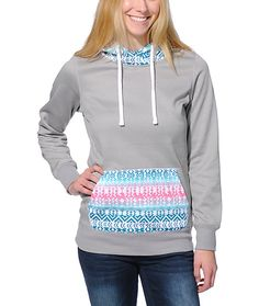 Equip yourself with the style and comfort of the Frostier Grey and Tribal print pullover tech fleece jacket from Empyre Girl. Perfect for the cooler weather, this hoodie snow fleece from Empyre is made with a soft fleece lining while the contrasting triba