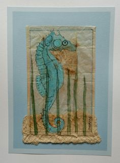 "Tea Bag Treasure's  Suzanne LeLoup-West  ""Seahorse"" Suzanne@suzannes-art-studio.com  8x10 framed"
