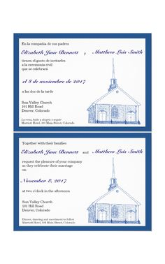 A new double sided bilingual wedding invite featuring a drawing of a quaint traditional church - easily customizable to any color scheme and language combination on Zazzle!