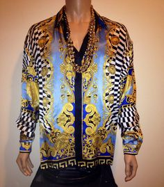 Vintage 1990s BAROQUE Gold FILIGREE print versace style