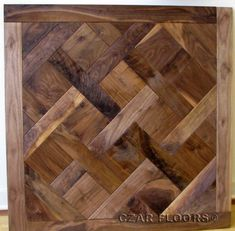 Charachter Grade American Walnut M23 Parquet, ID388. Check pictures of other inlays, wood and stone medallions, borders and parquet from Czar Floors.