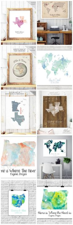 Seriously adorbs wedding map guest book ideas. Looking for a beautiful and unique wedding guest book alternative that won't just end up in the drawer a few months after it's done gathering dust on the coffee table? Love travelling or come from different cities? Click for even more ideas.