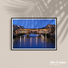 Photography of Ponte vecchio in Florence, Italy at blue hour. Poster available at vibes&shapes. #artprint #poster #travel Unique Wall Decor, Unique Art, Magical Home, Shape Posters, Blue Hour, New Perspective, Florence Italy, Art Prints, Artwork