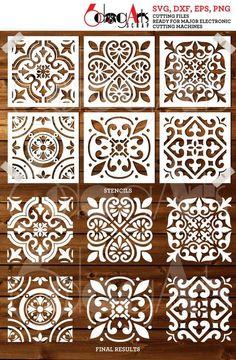 6 Tile Wall Floor Cookie Stencil Digital Templates SVG DXF   Etsy Wall Stencil Patterns, Stencil Wood, Stencil Painting, Stencil Designs, Printable Stencil Patterns, Bar Design, Tuile, Stenciled Floor, Cricut