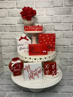 Valentines Day Decorations, Valentine Day Crafts, Valentine Stuff, Valentine Ideas, Wood Block Crafts, Tiered Stand, Christmas Minis, Valentine's Day Diy, Tray Decor