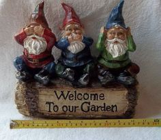 adorable Hear no evil, Speak no evil, See no evil gnome.my motto for a… Gnome Garden, Garden Art, Evil Gnome, Yard Gnomes, Wise Monkeys, See No Evil, Gnome House, The Elf, Faeries