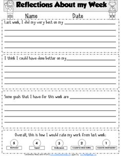 Reflection for students for goal setting