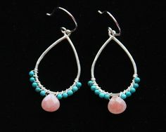 Pink Coral Dew Drop Earrings in Turquoise and Pink Coral on Sterling Silver from the Wrap Series by Mary Risley Jewelry. American Made. See the artist's work at the 2014 Buyers Market of American Craft, Philadelphia, PA. January 18-21, 2014. americanmadeshow.com #earrings, #pinkcoral, #coral, #turquoise, #jewelry, #americanmade