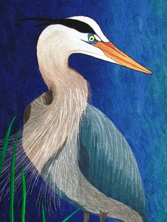 Heron by Barbara Shapel, from a 2012 workshop at Stitchin Post (Oregon)