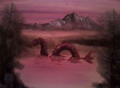 Artist Chris McMahon buys cheesy landscape paintings from yard sales, then paints in monsters of his own. Cheap Paintings, Old Paintings, Landscape Paintings, Original Paintings, Landscapes, Happy Little Trees, Unusual Art, Sea Monsters, Photoshop Photography