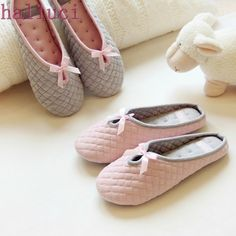 Better Deal $8.24, Buy Lovely Bowtie Winter Women Home Slippers For Indoor Bedroom House Soft Bottom Cotton Warm Shoes Adult Guests Flats