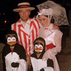 Family Halloween costume: Mary Poppins, Bert and the two dancing waiter penguins