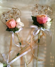 Flower Girl wands with vuvuzella roses by Myrtle & Smith - Florist