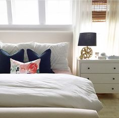 Caitlin Wilson Design | Blooms Pillow in White featured in @housesevenblog's bedroom #shareyourcwt