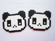 2 Dessous de verre Panda animal kawaii perle par DoucesCreations
