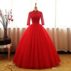 Jane Vini Red High Neck Quinceanera Dresses with Half Sleeve Lace Tulle Beaded Sequin Ball Gown Prom Dresses Plus Size Sweet 16 Dresses