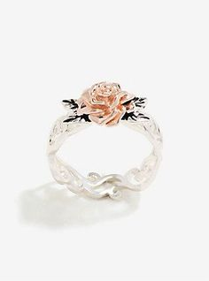 Disney Beauty And The Beast Rose Gold Two-Tone Ring Size 7,