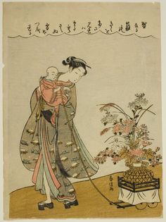Suzuki Harunobu 鈴木 春信  Japanese, 1725 (?)-1770  Pulling a Flower Cart, c…