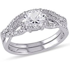 Image result for THREE STONE PLUS DIAMOND ENGAGEMENT RING AND A MATCHING BAND IN 14K WHITE GOLD (2 CTTW) katarina jewelry