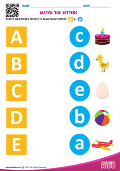 Free printable match letters worksheets with common core standards. The kids have to match the uppercase letter to lowercase letters on each worksheet.Kids will learn alphabet easily with fun learning. Preschool Phonics, Preschool Writing, Preschool Learning Activities, Fun Learning, Opposites Preschool, English Worksheets For Kindergarten, Letter Worksheets For Preschool, Nursery Worksheets, Lkg Worksheets