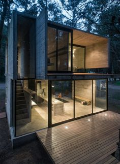 House is a concrete holiday home designed by Argentinian architect Luciano Kruk. The house is located in a pine forest near Buenos Aires. Architecture Design, Concrete Architecture, Casas Containers, Building A Container Home, Design Exterior, Facade Design, Roof Design, Modern Exterior, Shipping Container Homes
