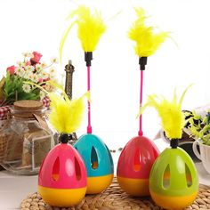 Interactive Funny Pet Cat Toys Tumbler Ball Toy Funny Teaser Wobble Toy with Color Feather -  color Random