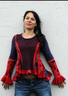 romantic renaissance, gypsy sweater, made from used another sweaters. reused, remade, recycled and up cycled. gracefull. stress woman body line. good