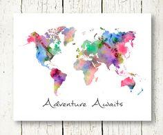 World map decor, world map wall art, map art, art world, map World Map Wall Decor, Wall Art Decor, World Map Printable, Water Color World Map, Map Design, Map Art, Adventure Awaits, Wall Colors, Art World