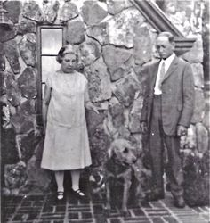 Laura Ingalls Wilder, her husband Almanzo and their dog Nero at Rocky Ridge Farm in Mansfield, Missouri, in the early 1930s, when Laura was writing the Little House books.