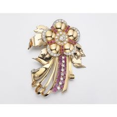 18K GOLD, DIAMOND AND RUBY BROOCH, CIRCA 1945   lot   Sotheby's