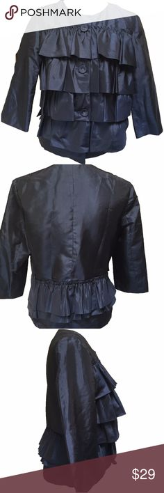 """NWT! Sapphire Blue Satin-like Jaipur Ruffle Jacket Beautiful ruffles make this jacket pretty and fun! Beautiful deep blue color. 100% Polyester. Size M. Measurements are flat & approximate: Bust 19 3/4"""", Waist 18"""", Sleeve length 18 1/4"""", Overall length 22"""". Jaipur Jackets & Coats"""