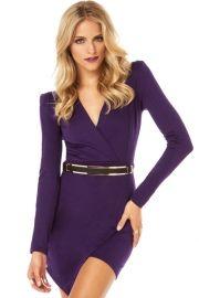 Purple Long-Sleeve Cross Over Mini Jersey Dress