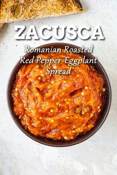 Zacusca is a Romanian vegetable spread made primarily from roasted eggplant and red peppers. It is popularly served as a spread on bread, but also as a relish for meats. Sicilian Recipes, Turkish Recipes, Greek Recipes, Ethnic Recipes, Romanian Food, Romanian Recipes, Good Food, Yummy Food, Healthy Food