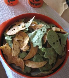 Homemade Halloween Tortilla Chips in Fall shapes. Cool idea for any holiday. Just change up the shapes.  :)