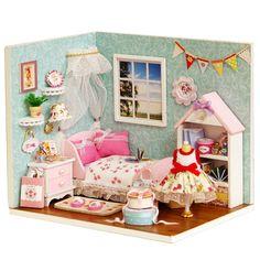 Günstige Kreative Dekoration Handwerk 3D DIY Dollhouse Lustige Holz Puppenhaus Miniatur puppenhaus mit Möbel Kit Zimmer Led leuchten, Kaufe Qualität Puppe Häuser direkt vom China-Lieferanten:                                                                            kreative Dekoration Handwerk 3D D