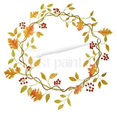 Fall Leaves Watercolor Wreath Instant Download by JustPaintItEtsy